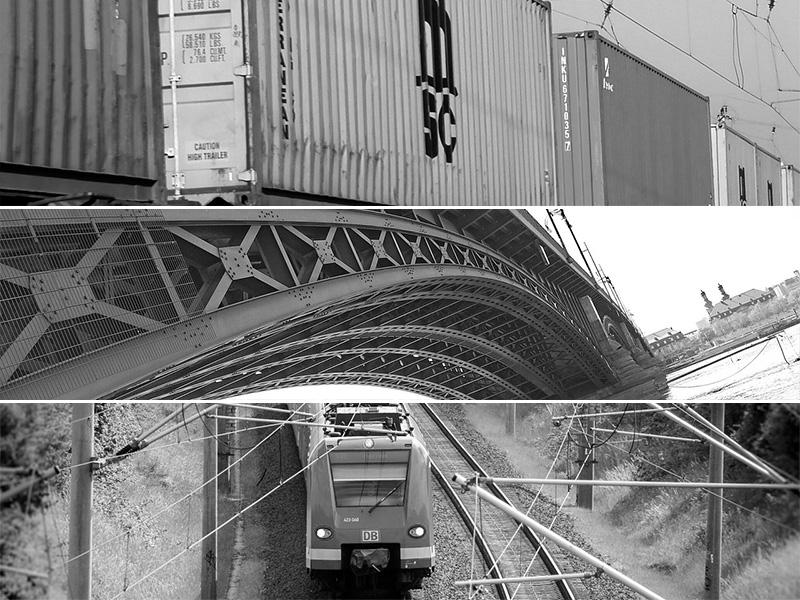 Bahn, Brücke und Waggon aus Stahl